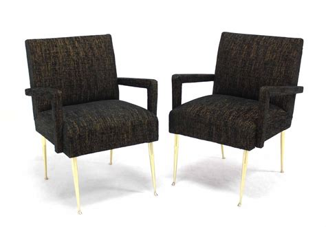 Pair Of Italian Armchairs On Solid Brass Legs For Sale At