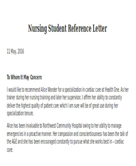 letter of recommendation for nursing student nursing reference letter templates 8 free word pdf 39939