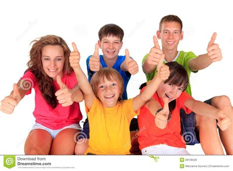 Teens And Kids With Thumbs Up Stock Photo  Image Of