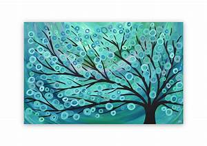Teal turquoise tree painting canvas wall art