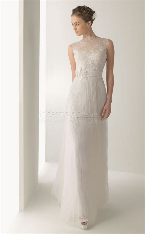 ankle wedding dress a line lace tulle high neck sleeveless ankle