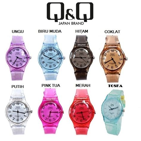 jam tangan qq jelly angka rubber transparant transparan