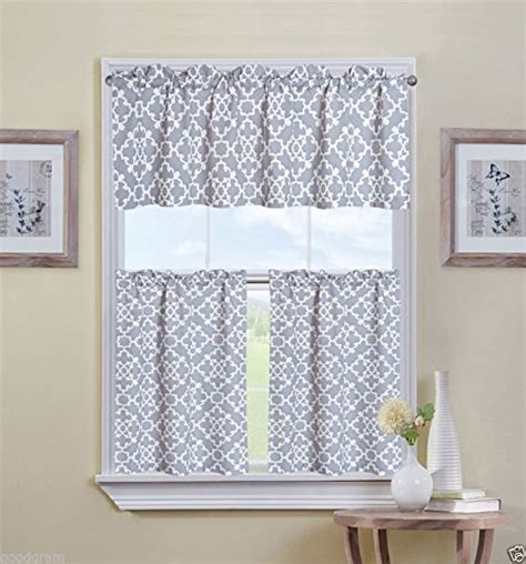 ultra luxurious grey shabby  piece kitchen curtain tier