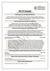 sle of professional resume writing professional cv cv format