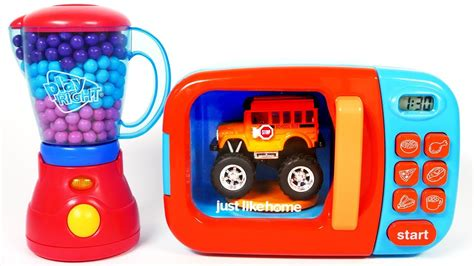Toy Car Vehicles Monster School Bus Microwave Learn Colors