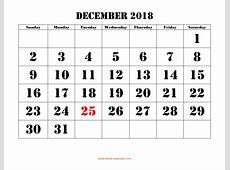 Free Download Printable December 2018 Calendar, large font