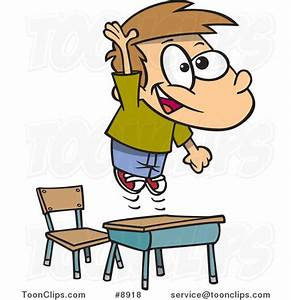 Cartoon School Boy Jumping over His Desk #8918 by Ron Leishman