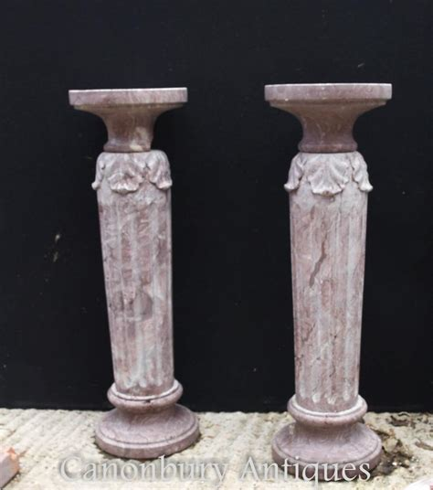 marble column table l pair french classical marble column pedestal table stands