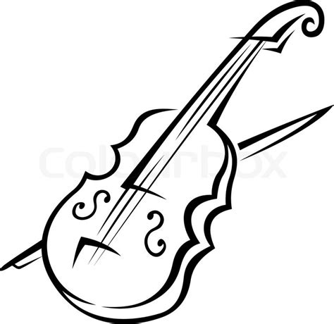 black  white doodle sketch   violin isolated