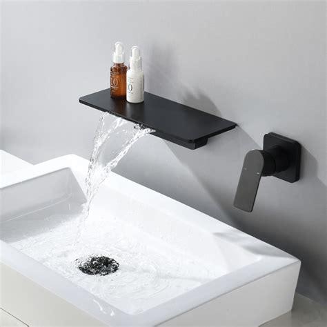 waterfall wall mount single handle bathroom sink faucet