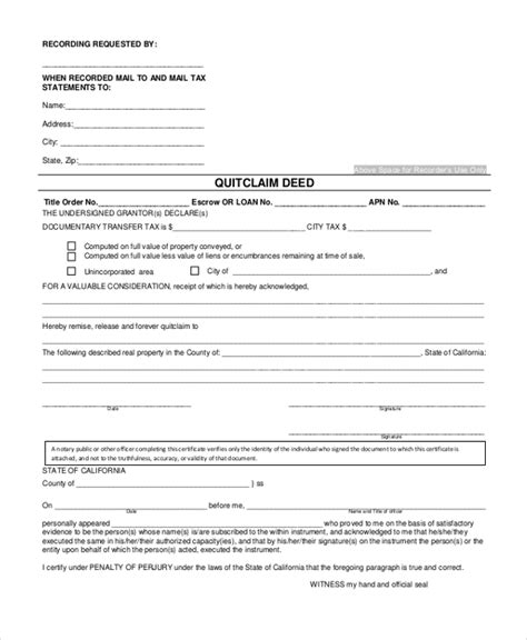 sample quick claim deed forms   ms word