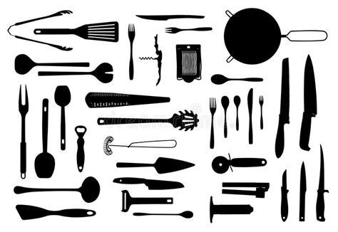 couverts de cuisine ensemble de silhouette d 39 équipement et de couverts de