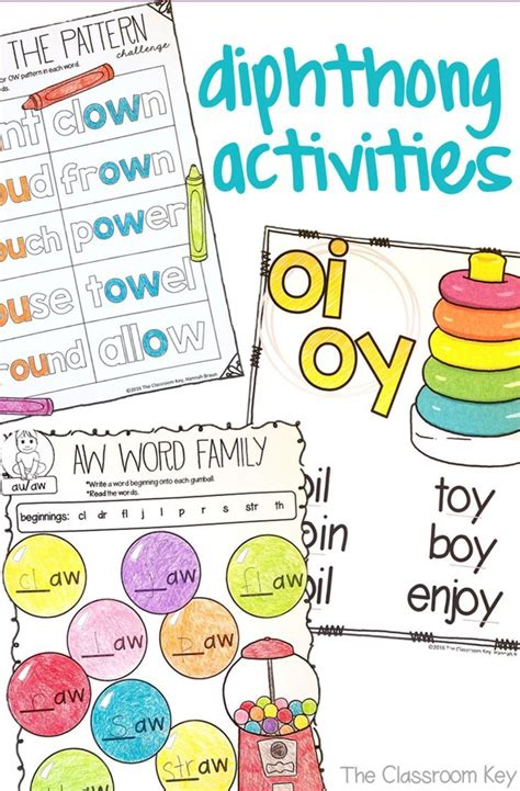 diphthongs activities worksheets aw au ow ou oi oy