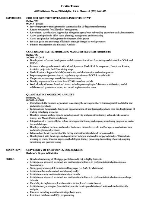 quantitative modeling resume samples velvet jobs