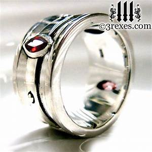 mens wedding ring gothic engagement band garnet by With gothic mens wedding rings