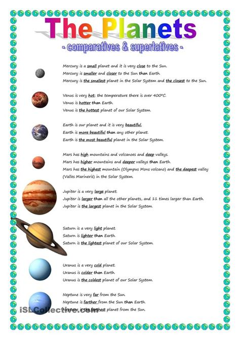 planets comparative superlative solar system