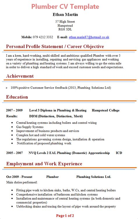 Plumbers Resume by Plumber Cv Template 1