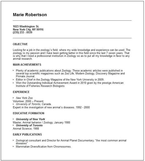 resume format  msc zoology resume templates