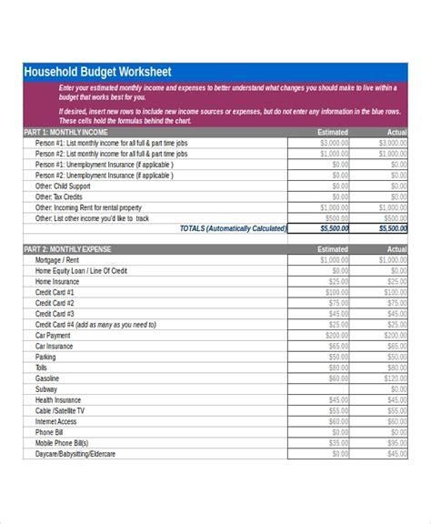 6+ Sample Home Budget Worksheets  Sample Templates