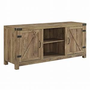 58quot Barn Door TV Stand With Side Doors Barnwood