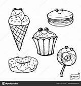 Dessert Kawaii Coloring Cartoon Adorable Vector Smiling Characters sketch template