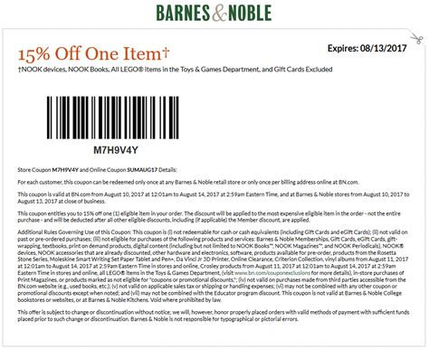 15% Off At Barnes & Noble, Or