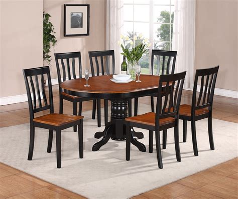 furniture kitchen table 7 pc oval dinette kitchen dining set table w 6 wood seat