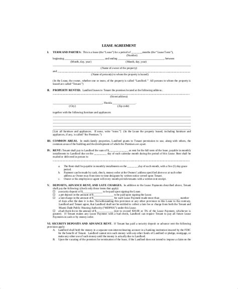 sample lease agreement templates word  pages