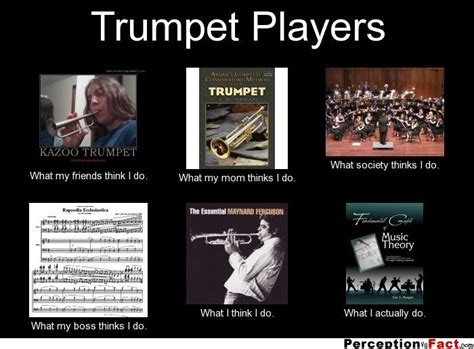 Trumpet Player Memes - trumpet players what people think i do what i really do perception vs fact