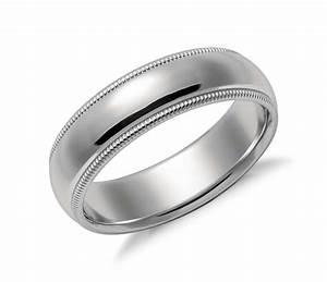 Milgrain Comfort Fit Wedding Ring In Platinum 6mm Blue