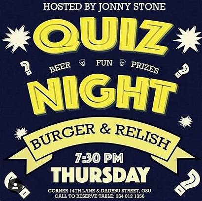Burger Thursday Night Relish Quiz Egotickets