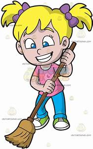A Happy Girl Sweeping The Floor Cartoon Clipart - Vector Toons