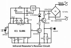 infrared repeater system circuit With ir extender circuit