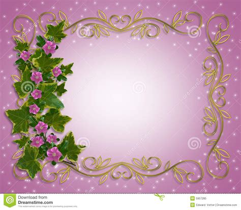 ivy floral design border  gold frame stock