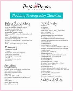 wedding photography checklist With list of wedding photos for photographer