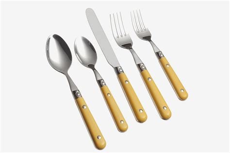 flatware sets silverware stainless colorful yellow ginkgo international steel setting place prix le piece