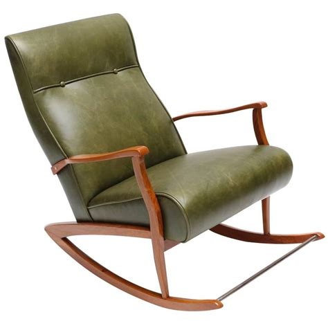 1960s rocking chair in green leather for sale at