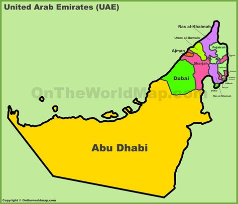 uae emirates map administrative divisions map  uae