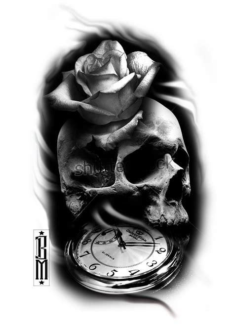 skull rose clock black and grey tattoo sleeve ideas