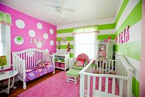 Pink and green girls room! Stripes and polka dots ...