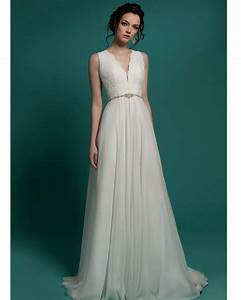 high quality v neck chiffon long simple wedding dress With simple long dresses for weddings