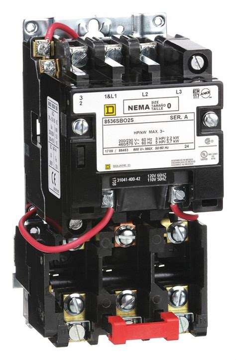 square d magnetic motor starter 120vac coil volts nema size 0 starter type nema 1h491