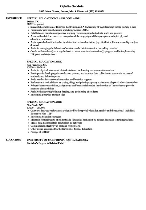 Cv Aide by Sle Resume Special Education Assistant Special