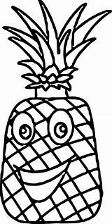 Pineapple Coloring Cartoon Characters Wecoloringpage sketch template