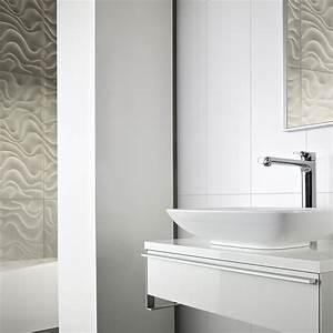 Carrelage Salle De Bain Blanc : salle de bain le carrelage blanc prend du relief ~ Melissatoandfro.com Idées de Décoration