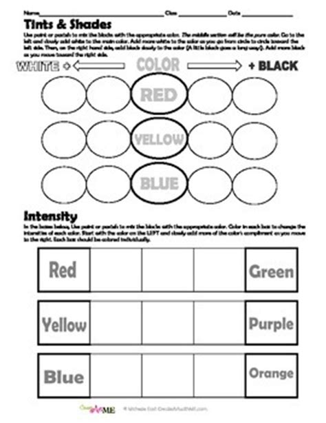 color tints shades intensity worksheet by create with me east
