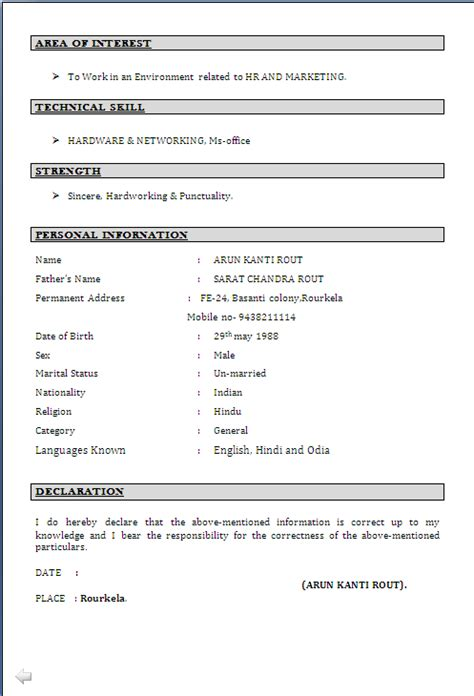 Iti Fitter Resume Format Doc by Resume Sle For Mba Diploma In Human Resource And
