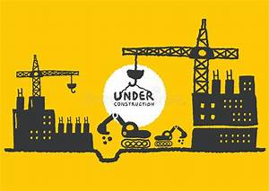 Illustration Of Under Construction Site With Building ...