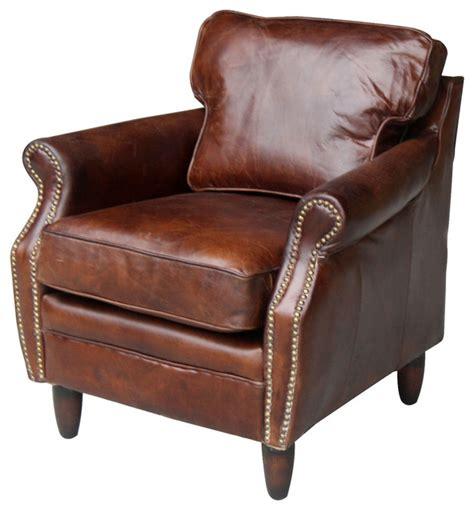 vintage club top grain leather armchair brown