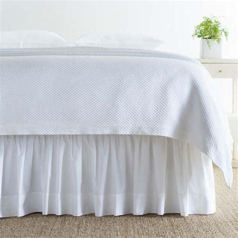 classic hemstitch white bed skirt pine cone hill